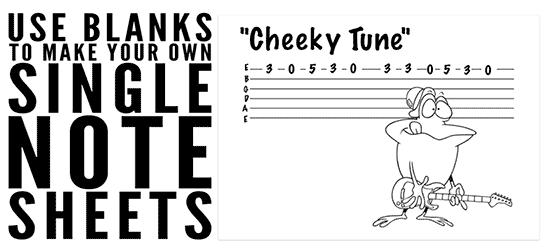 how to teach group kids to play guitar with blank chord and tab sheets