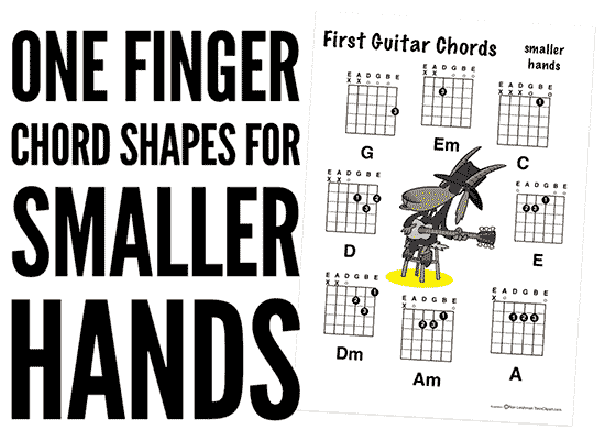 teaching children to play guitar with one finger chord shapes