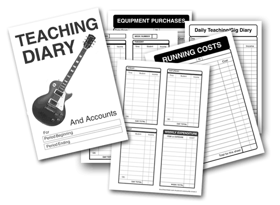 guitar teachers accounts and diary system