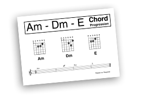 A minor D minor and E Guitar Chord Sheet