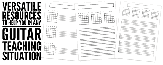 blank tab and chord grids for guitar teachers