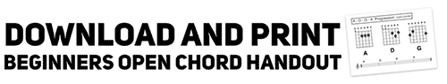 get a handout that uses open guitar chord shapes for a beginner