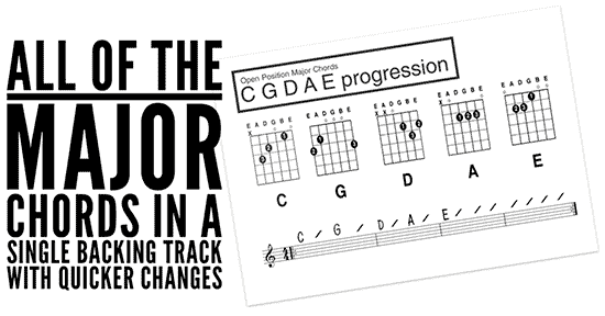 easy beginners guitar lesson backing tracks C G D A and E chords