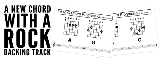 beginners guitar backing track with a new chord