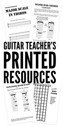 Print PDF guitar chord sheets and scale diagrams