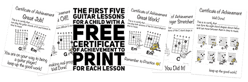 encourage children to play the guitar with free printable certificates