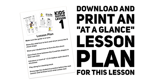 download a free kids guitar first lesson plan