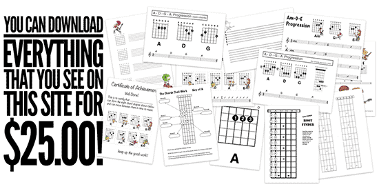 How to teach kids guitar with blank tab sheets and chord grids